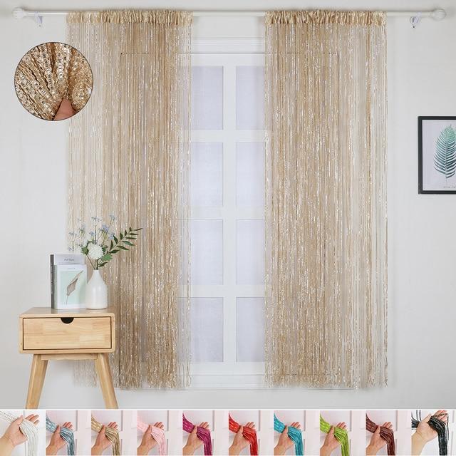 100x200cm Home Divider Sheer Door Window Decor Tassel Panel Shiny String Curtain String Sheer Curtain For Kitchen Living Room 2