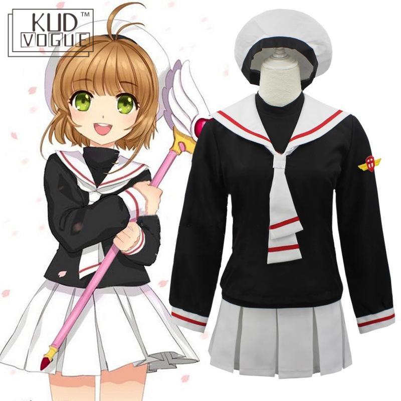 Cardcaptor Card Captor Sakura Kinomoto Sakura Cosplay Costume Anime Girl School Uniform Coat+ Skirt +Hat +Track Lolita Dress Set