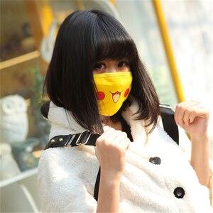 Image 2 - Unisex Anime Pokemon Pikachu Cosplay Masks Cartoon Women Girls Smile Kawaii Cotton Face Mask Cartoon Funny Patten Sunscreen Mask