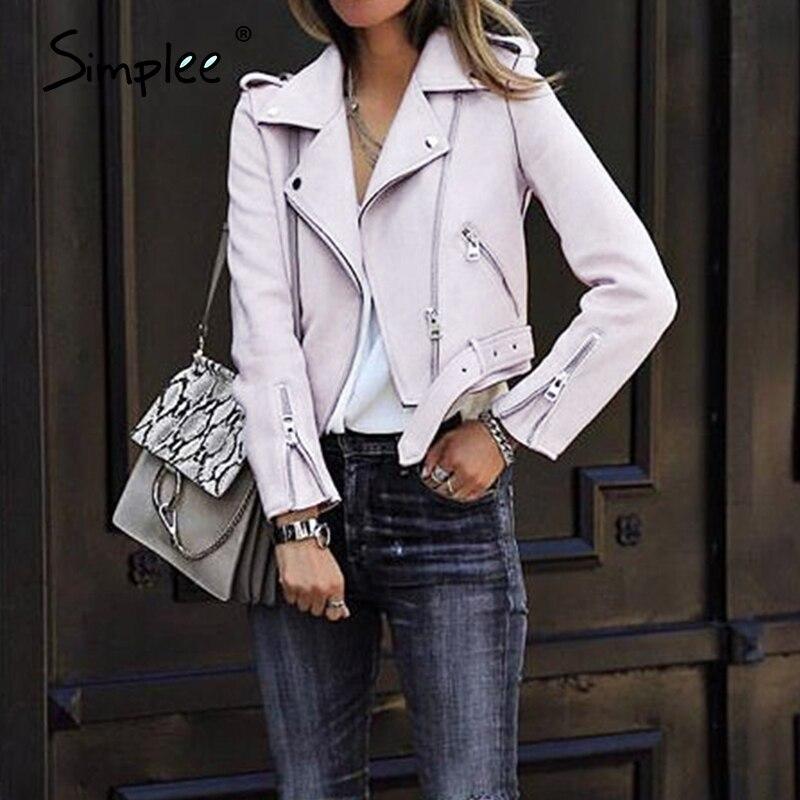 Simplee Leather Suede Faux Leather Jacket Women Zipper Belt Moto Jacket Cool Streetwear Ladies' Leather Jackets Winter Coat 2017