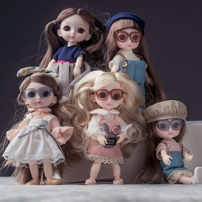 Muñeca de 16cm con 13 muñecas articuladas móviles BJD ojos 3D muñeca de maquillaje de pelo largo con ropa hecha a mano moda para chicas regalo de cumpleaños|Muñecas|   - AliExpress
