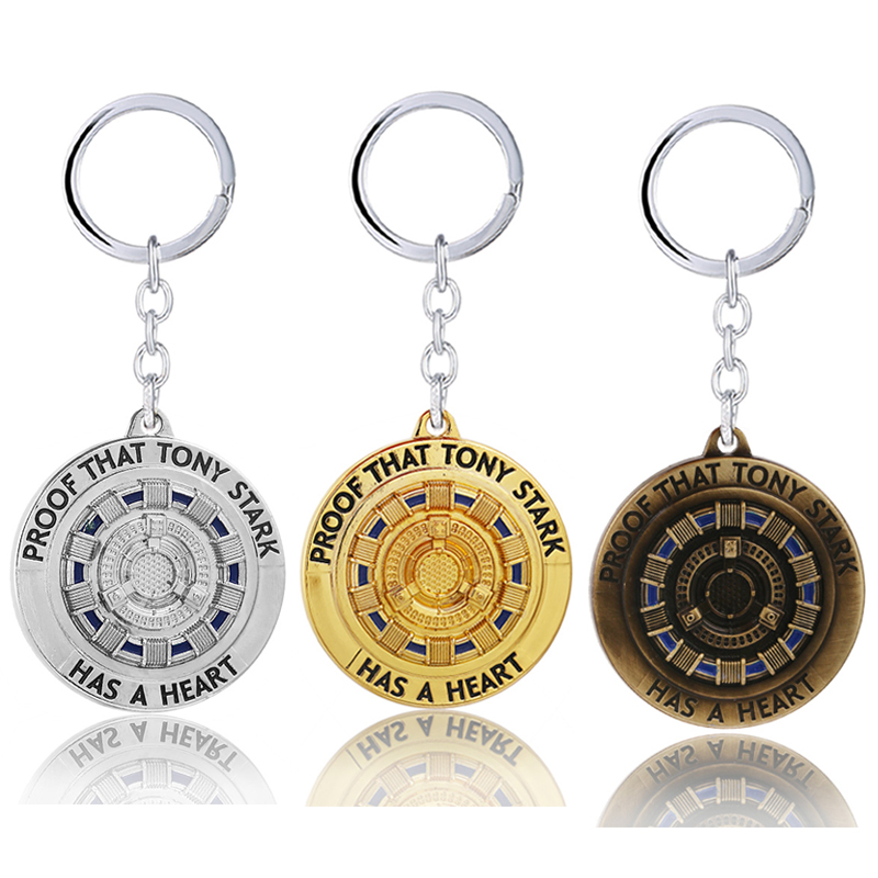 Marvel Iron Man Tony Stark Arc Reactor Keychains The Avengers 4 Endgame Quantum Realm Film Souvenir Jewelry Gifts