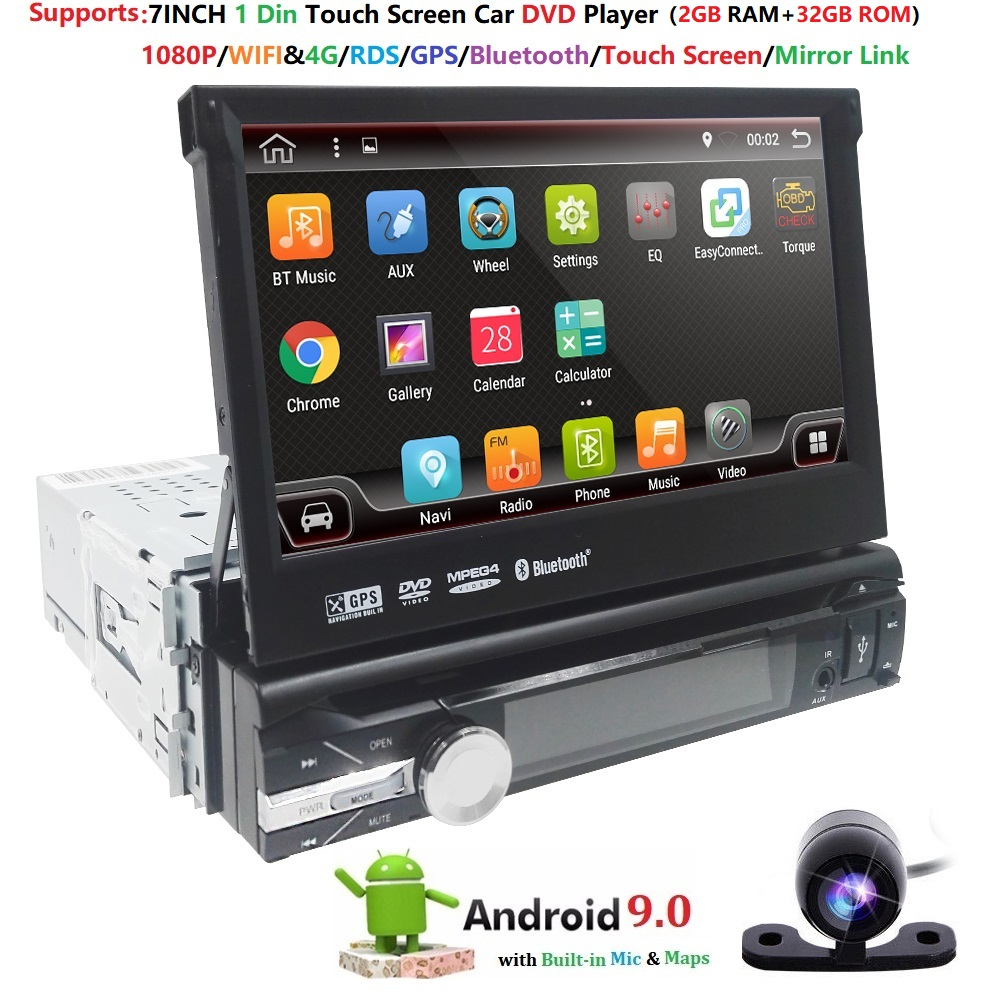 2G+32G 1 Din Car Radio Android 9.0 Universal GPS Navigation Bluetooth Touchscreen Wifi Car Audio Stereo camera Car Multimedia 4G|Car Multimedia Player|   - title=