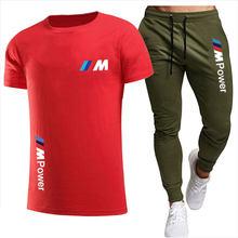 2021 Fashion Casual Sportswear Summer Alphabet Print Suit Men's Jogging Fitness Suit Men's Suit T-shirt + Pants 2-Piece Set