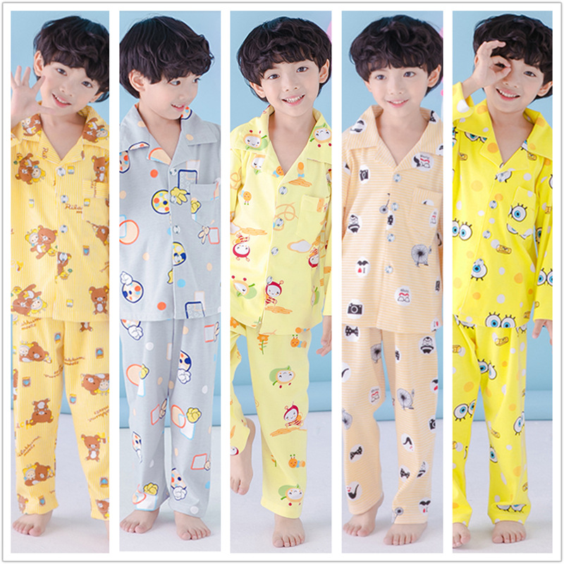 Korean-style Big Boy 3-15-Year-Old New Style Pure Cotton Chen Yi Kuan Cardigan Pajamas Children Autumn Long-sleeve Suit Tracksui