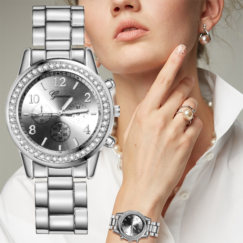 Reloj Mujer Silver Women's Watch Fashion Rhinestone Women Quartz Wrist Watch Luxury Ladies Watch Women Watch Relogio Feminino