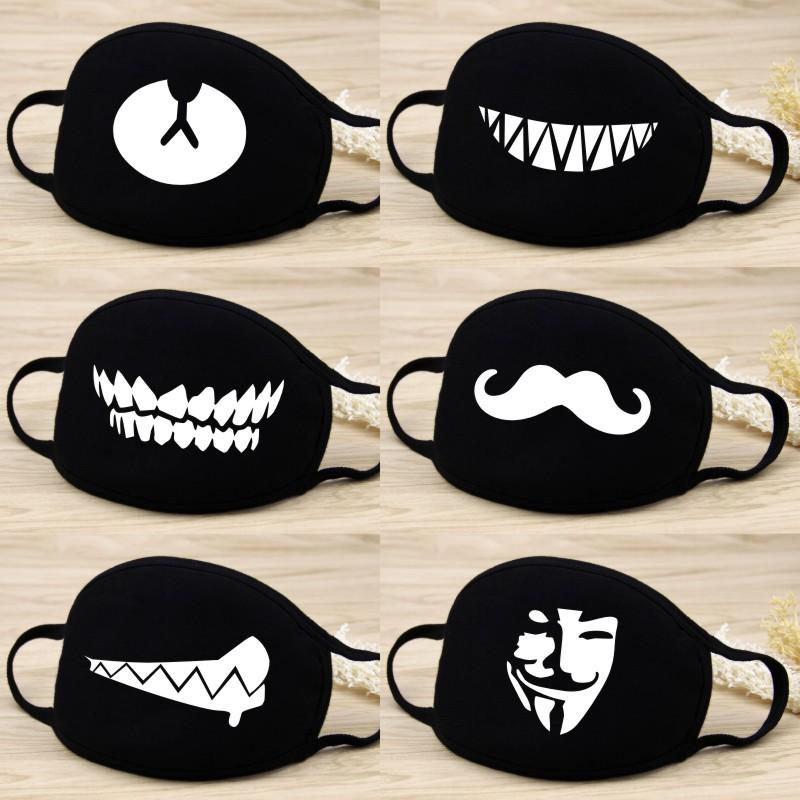 Image 1 - Cute Cartoon Funny Teeth Mouth Face Mask Unisex Keep Warm Black Thicken Mouth Mask Women Men Soft Anti Fog Anti Dust MaskWomens Masks   -