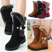 Platform Winter Shoes Woman Faux Suede Boots Women Fur Boots Snow Booties Slip On Creepers Flat With Warm Boots botas mujer D30 fur boots women bow slip on snow boots women winter shoes warm ankle boots botas mujer plush shoes flat booties chaussures femme