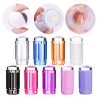 Clear Nail Stamper Jelly Silicone Stamper Head With Clear Cap Colorful Handle Nail Stamping Stamp Scraper Template Tools