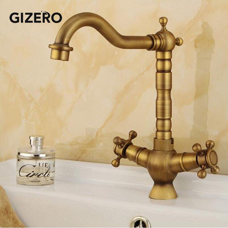 Antique double poignée salle de bains en laiton robinet mitigeur de bassin robinet chaud et froid pivotant pont monté évier vanité robinet torneira ZR111