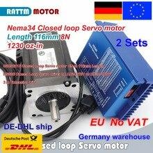 EU ship 2 sets Nema34 L-116mm Closed Loop Servo motor 8N.m Motor 6A & HSS86 Hybrid Step-servo Driver 8A CNC Controller Kit 4 axis nema34 2phase 60vac 5 6a 12n m closed loop stepper kit driver motor controller 60vac transformer for cnc motion control