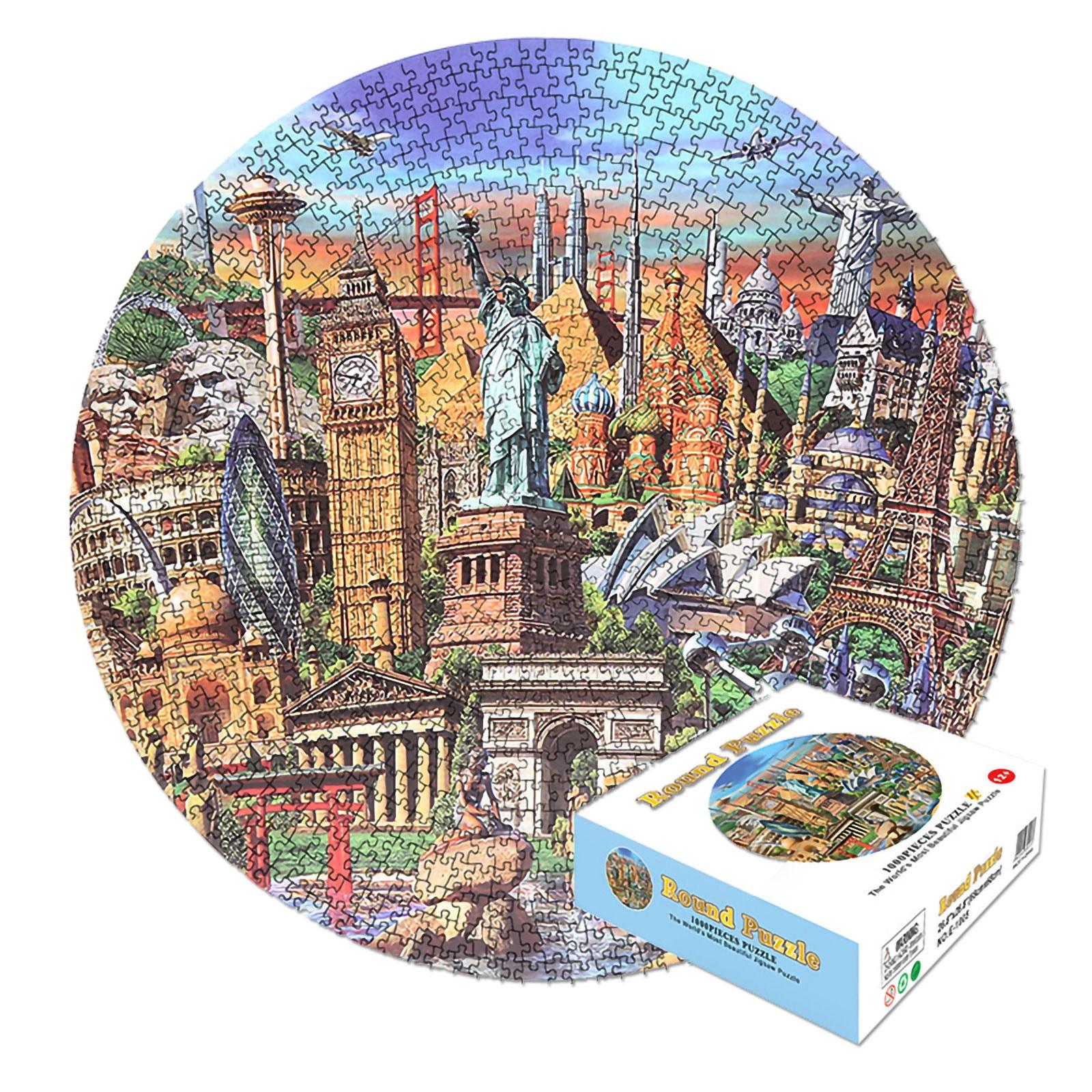 Мозаика паззл для взрослых 1000 шт., круглая головоломка, Классическая Игрушка для декомпрессии, упражнения на логику и сенсорную координацию Пазлы      АлиЭкспресс