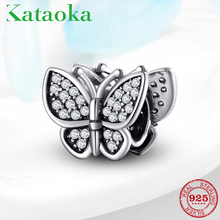 Authentic 925 Sterling Silver Shiny zircon Butterfly Insect Charms Fit Pandora Bracelets Original necklace