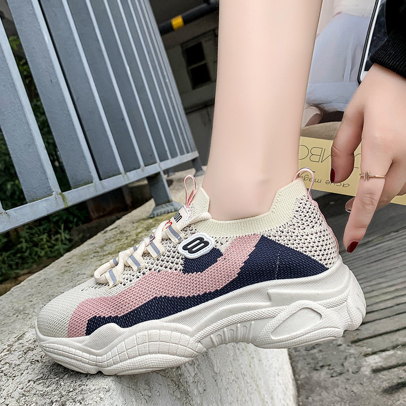 Casual sports shoes women 2019 spring new women 39 s tide shoes breathable flying woven net red wild fashion ladies sneakers in Women 39 s Flats from Shoes