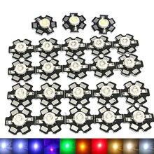 10 шт. 100 шт. Высокая мощность лампа бусины светодиод чип 1 Вт 3 Вт 5 Вт светодиод диоды теплый холодный белый красный синий розовый зеленый желтый фиолетовый свет лучи