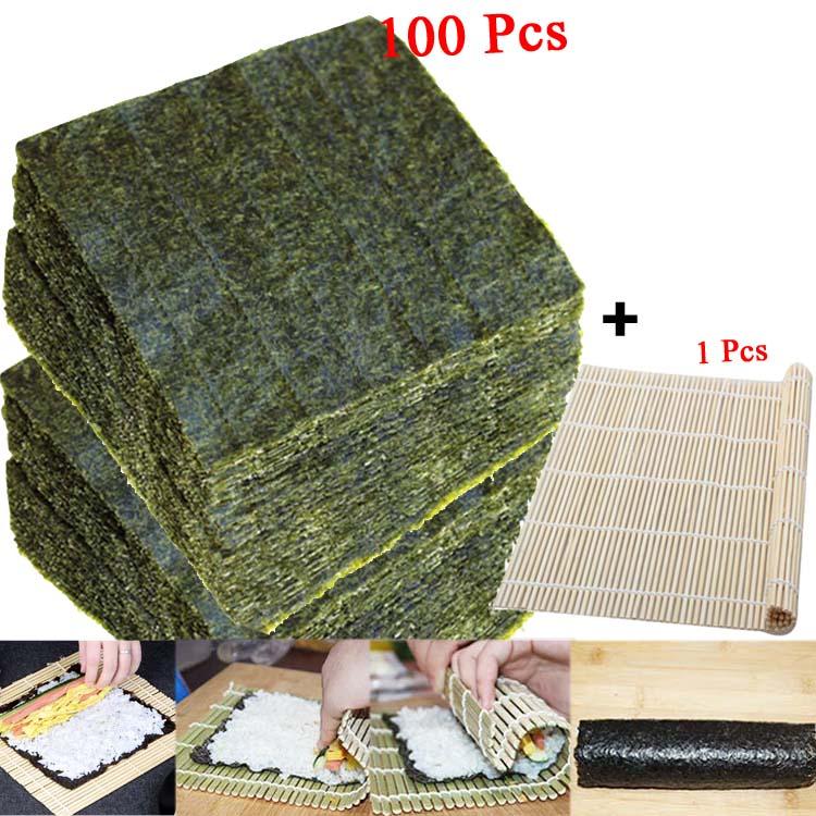 50-100 шт. суши нори морские водоросли, оптовая продажа с фабрики, качество AAA, темно-зеленая вторичная выпечка Нори Суши алгуны, Самые продаваемые суши-0