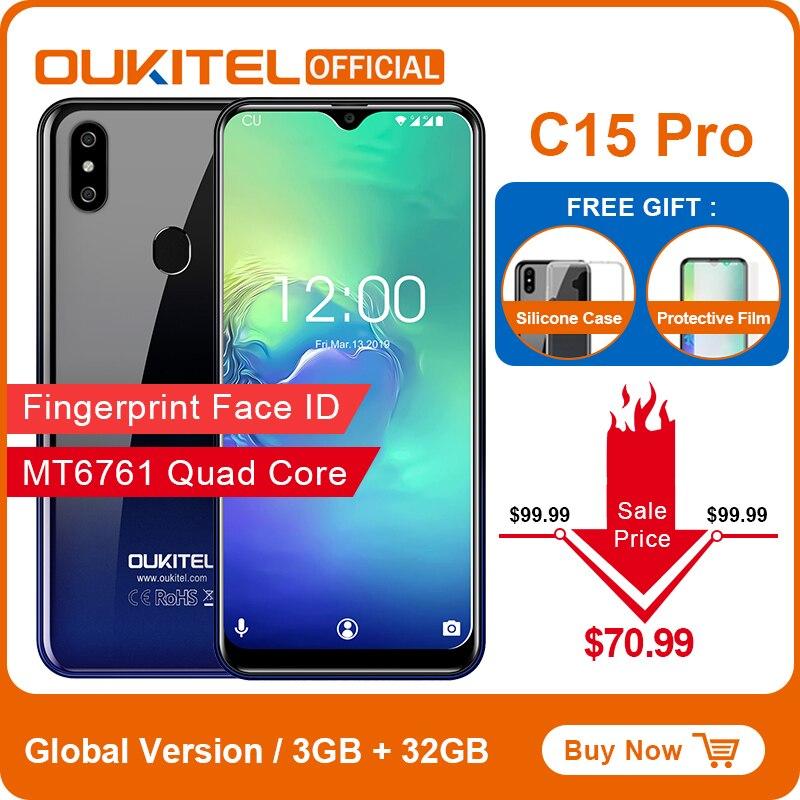 OUKITEL C15 Pro Android 9,0 teléfono móvil 3GB 32GB MT6761 huella Face ID 4G LTE Smartphone 2,4G/5G WiFi de agua pantalla