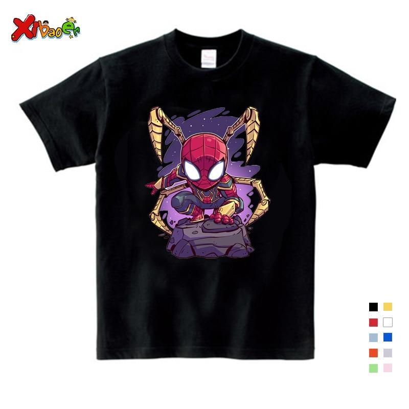 NEW Boys Spiderman Ironman Captain America T Shirt Summer Short Sleeve Superhero Tee Kids Cotton Clothes