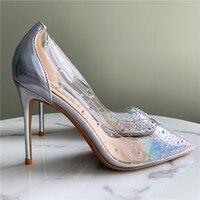Free shipping fashion women pumps Casual Designer clear pvc crystal Rhinestone Stiletto Heels bridal wedding shoes