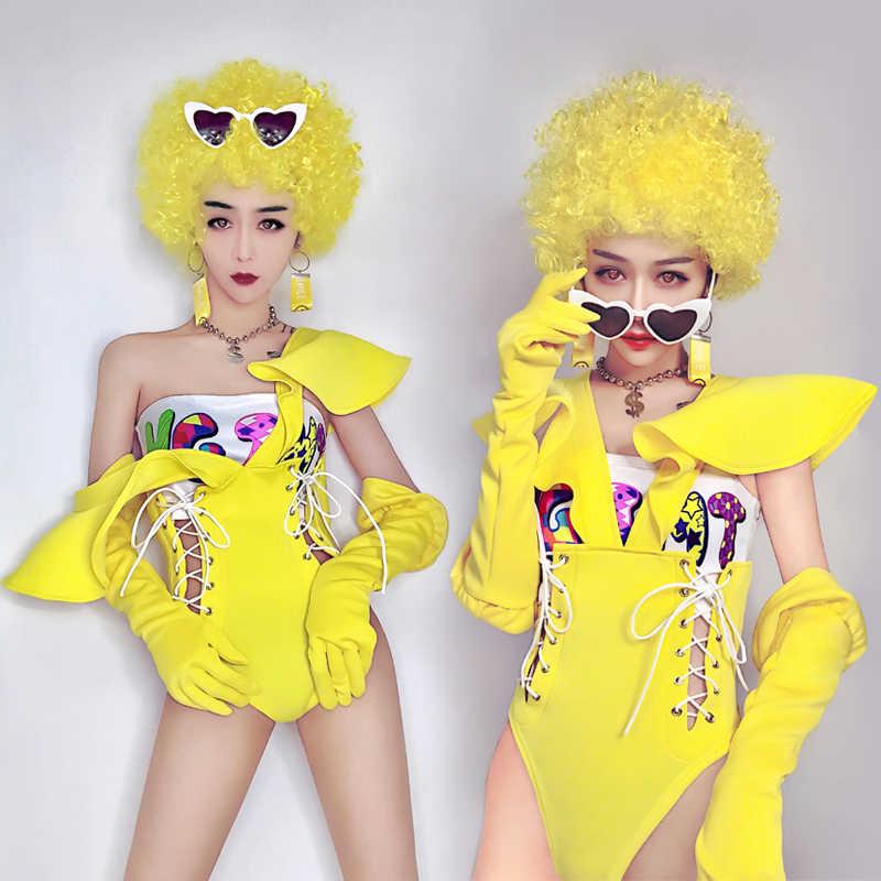 2019 сексуальный желтый обнаженный горный хрусталь комбинезон сексуальный ночной клуб бар одежда боди, декорированное камнями леггинсы Выпускной праздничный наряд