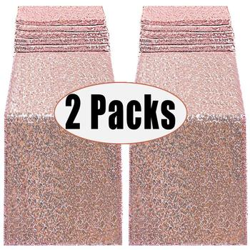2 Packs 12By 108inch Sequin Table Runners Rose Gold Glitter Event Party Supplies Decorations For Wedding Birthday Baby Shower