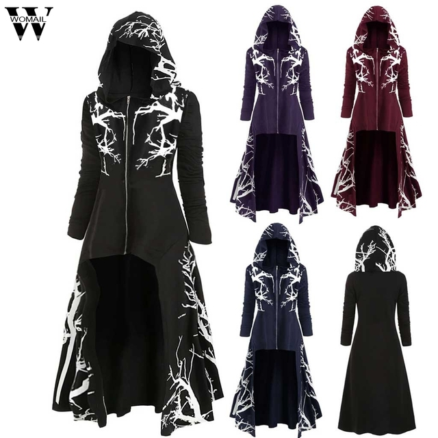 2020 Halloween coat Men Autumn Punk Style Jackets Gothic Belt Swallow-Tail Coat Long Sleeved Vintage Medieval Party Long Uniform