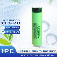 1 pçs original novo panasonic ncr18650b 3.7v 3400mah 18650 bateria recarregável de lítio ncr 18650b para células de lanterna portátil