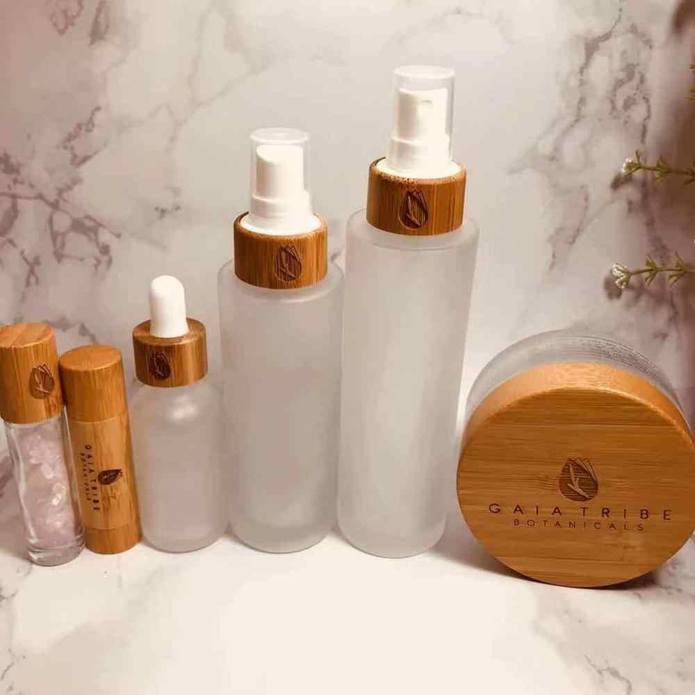 天然竹化粧品包装竹エッセンシャルオイル香水瓶 1 オンス麻 cbd 油クリームボトル竹ラップスポイト
