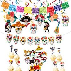 México dia dos mortos tema crânio banner multicolorido mexicano fotografia pano de fundo com cabine de fotos adereços decorações de festa