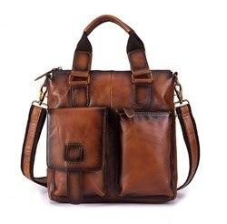 13 дюймов натуральная кожа коровья кожа мужчины большой емкости ноутбука сумки портфель сумки