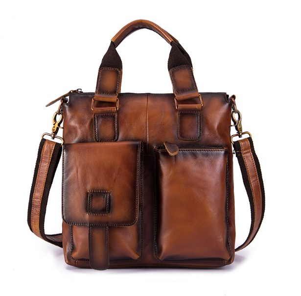 13inch Genuine Leather Cow Skin Men Large Capacity Laptop Bags Briefcase Bags