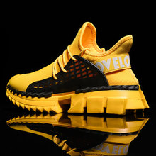 Mens Autumn Winter Sneakers High Top Brand Men Casual Shoes Fashion Yellow Products Breathable Stretch Sock 2019
