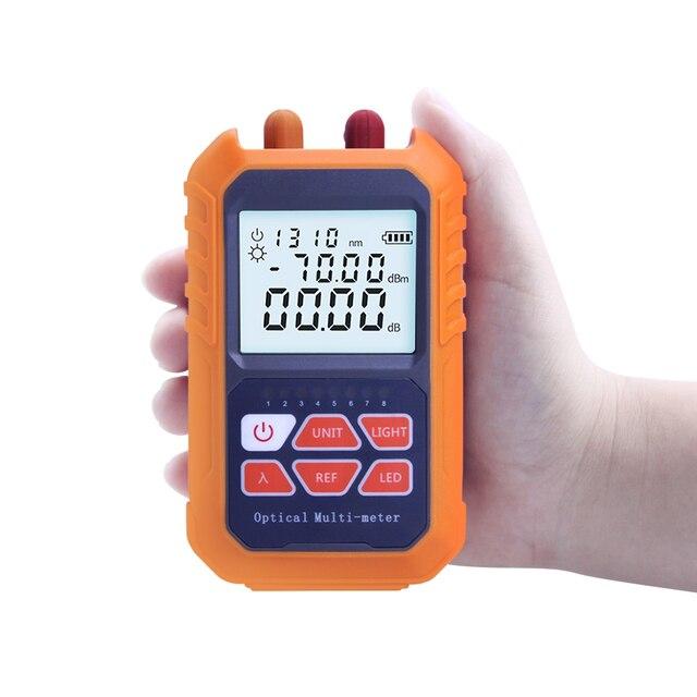 """Ftth 3 in 1 כף יד סיבי מיני האופטי Power Meter  70 + 3 dBm לייזר מקור חזותי fau 5MW 5 ק""""מ רשת כבל מבחן"""