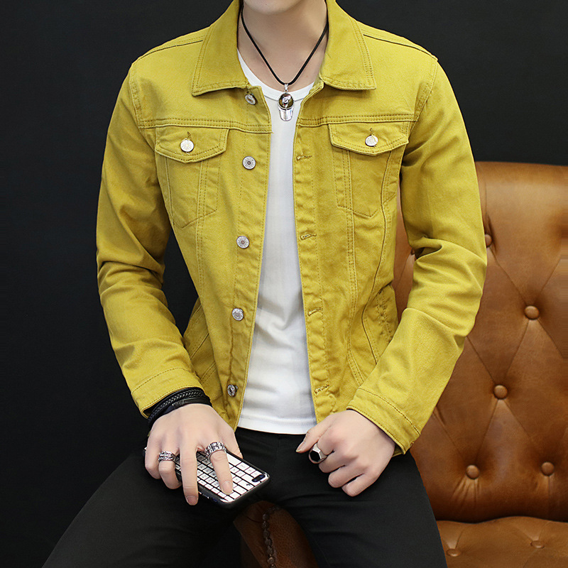 2020 Autumn Men New Style Solid Color Denim Jacket Teenager Slim Fit Elasticity Single Breasted Fold-down Collar Denim Jacket