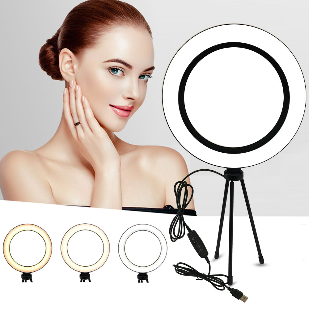 Photography LED Selfie Ring Light 16/21CM Dimmable Camera Phone Ring Lamp 8Inch With Table Tripods For Makeup Video Live Studio