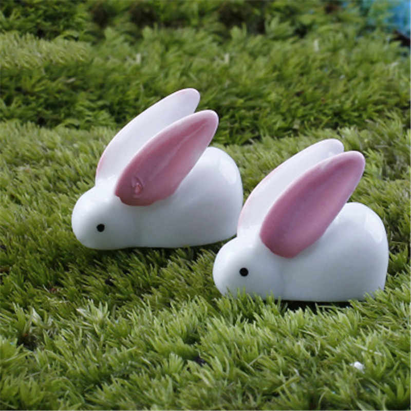 Pink Long Ear Rabbit Cute Cony Coney Hare Europe Model Small Statue Little Figurine Crafts Figure Ornament Miniatures