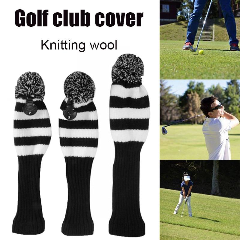 Fairway Metal Wood Red/Black Golf Headcover Knit Pom Head Cover Set Durable Wear Resistant SAL99