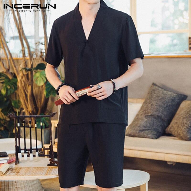 INCERUN Summer Vintage Men Sets Streetwear Solid Color Casual Short Sleeve V Neck Pockets Tops Mid-length Shorts Mens Suit S-5XL