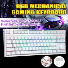 87 Kunci Kabel Usb RGB Backlit Nkro Gateron Switch PBT Double Shot Tombol Mekanik Gaming Keyboard untuk E-Olahraga kantor PC Laptop(China)