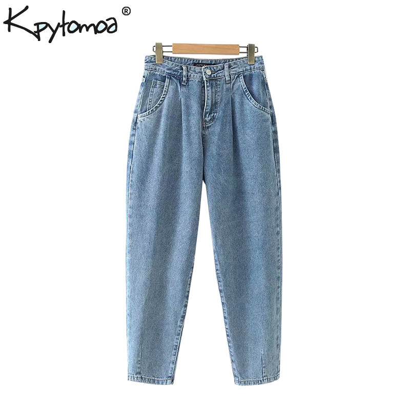 Vintage Stylish Basic Pockets Denim Harem Pants Women 2019 Fashion Zipper Fly High Waist Ankle Jeans Trousers Chic Pantalones