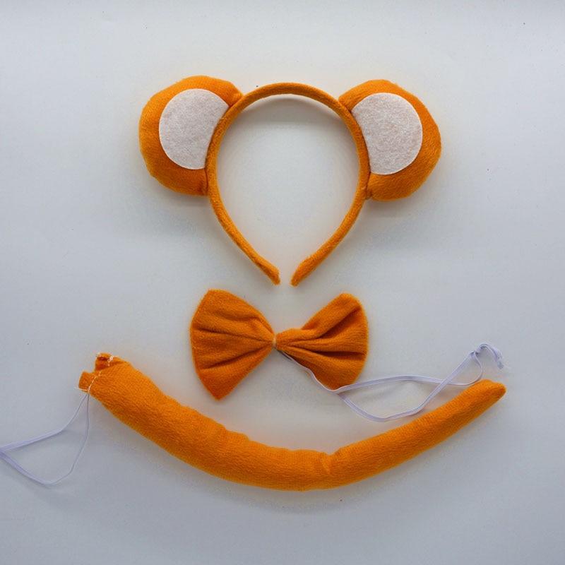 Детская повязка на голову с ушками животных для мальчиков и девочек; комплект с галстуком-бабочкой и хвостом для детей и взрослых; карнавальный костюм; вечерние аксессуары для волос - Цвет: 23