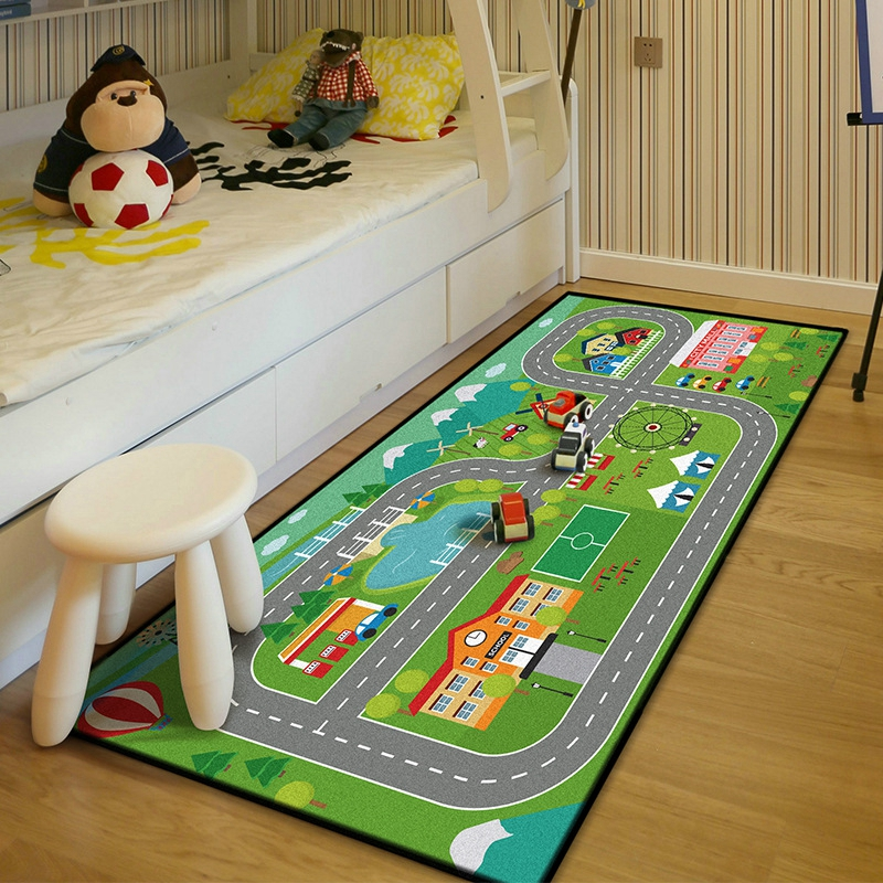 Baby Kids Bedroom Bedside Non-Slip Floor Mat Soft Crawling Area Rugs Car Track Tapete Learning Toy Carpets Kids Play Tent Mats