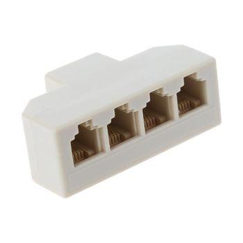 1 divisor RJ11 adaptador de 4 vías 1 M a 4 F RJ-11 6P4C divisor de Jack de teléfono