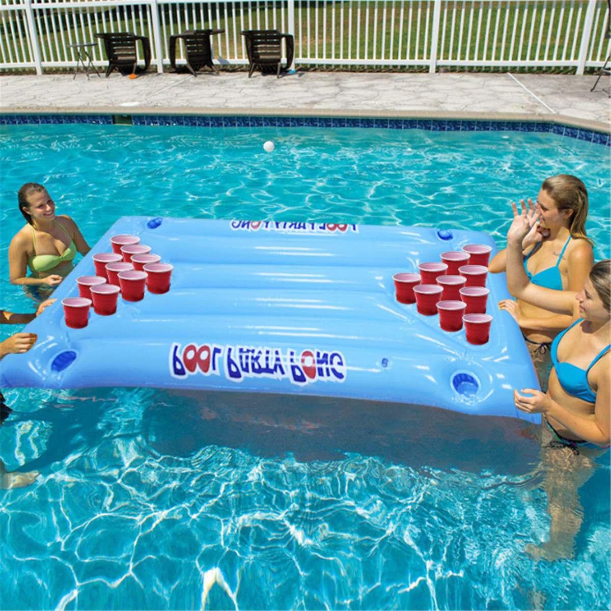 Floating Pool Party Game Raft Lounge Beer Pong , Jeu gonflable flottant Gonflable Pool Party Barge Floating Beer Pong Float Cooler Blue 5 Feet
