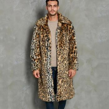 Autumn Leopard faux mink leather jacket mens winter thicken warm fur leather coat men slim jackets jaqueta de couro B27