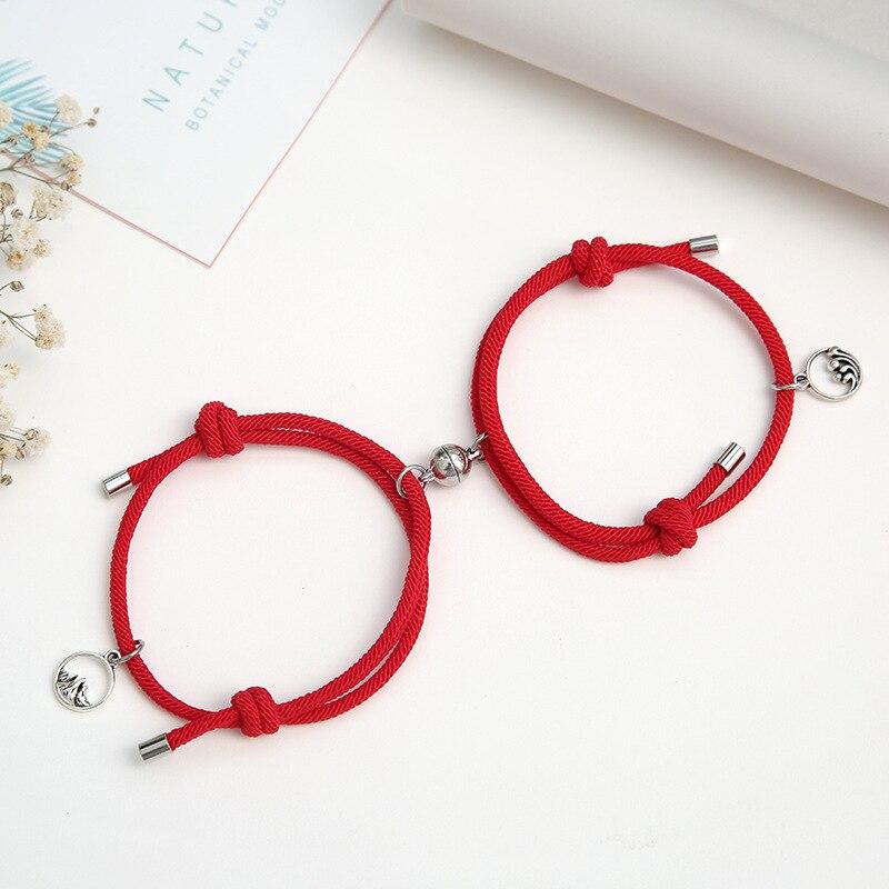 Noter 2pcs/Set Paired Bracelets Adjustable Braided Thread Braslet Lover Forever For Couple Brazalete Valentine Braclet Pulseira