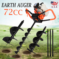 Earth Auger Drill Bit+ 72cc Gasoline Power Post Hole Digger for Garden Farm Ground Drill Machine Power Tools Accessories