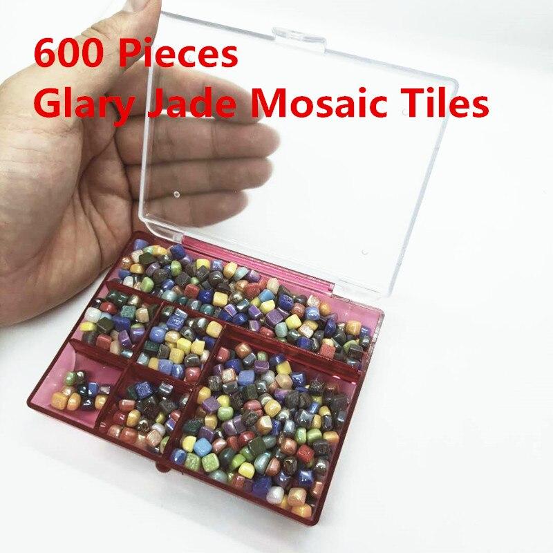 600 piezas de mosaico de Jade brillante DIY piedras de mosaico cuadrado de Color mixto materiales artesanales para niños/niños 0,58*0,58*0,4 cm 100 Uds. Herramientas de construcción de pared de piso de cerámica plana sistema de nivelación de azulejos reutilizable Kit de sistema de nivelación de azulejos