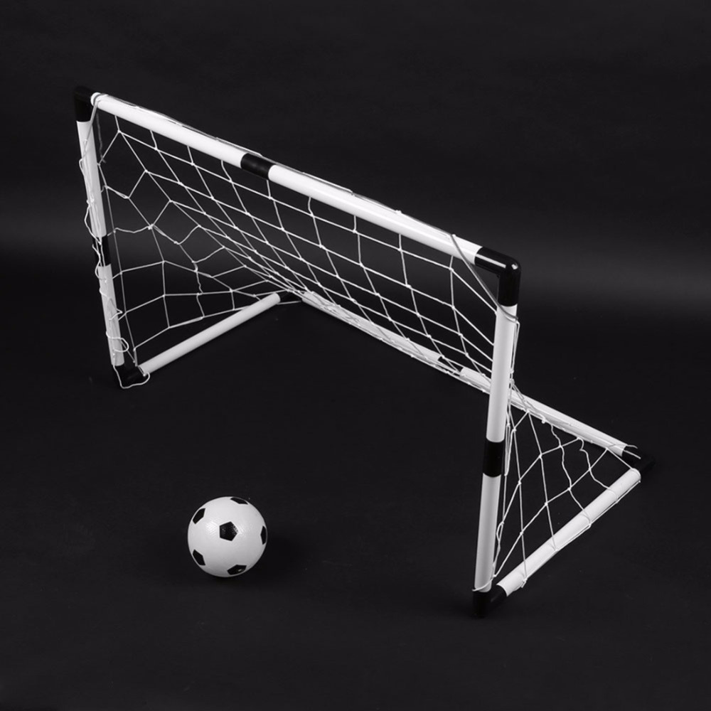 2 Sets DIY Children Sports Soccer Goals with Soccer Ball and Pump Practice Scrimmage Game Football Gate DIY White Gift For Kids image