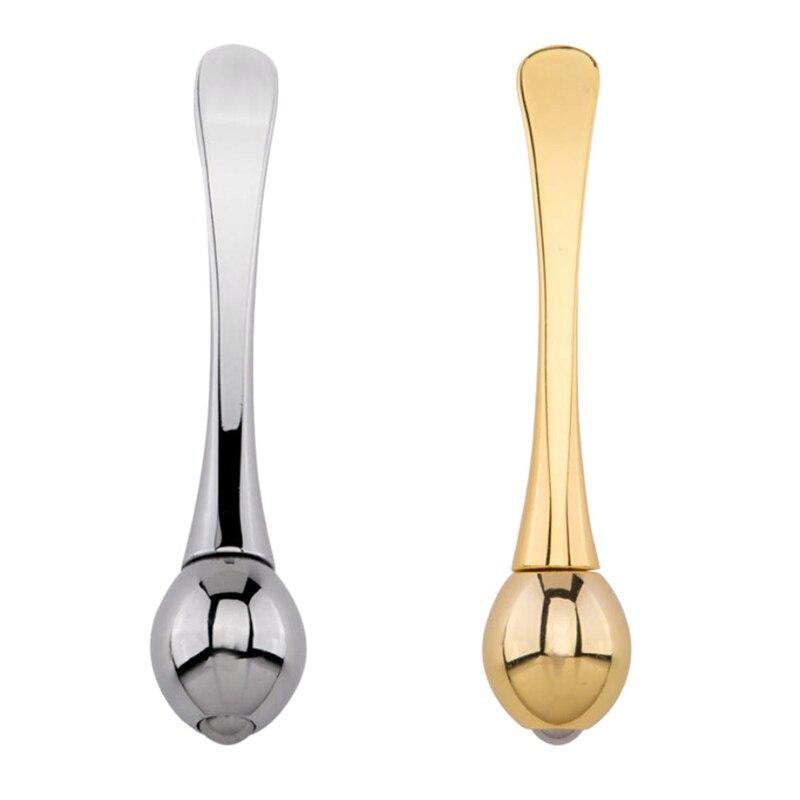 2Pcs Metal Eye Cream Stick, Eye Massage Stick Ball, Makeup Spoon (Gold + Silver)
